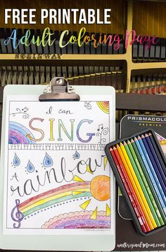 """""""I Can Sing a Rainbow"""" free printable adult coloring page - perfect for a music lover! Kick back and relax with this cute coloring page for teens and adults.  Use your @pinprismacolor pencils to perfectly color the page and create your work of art.  #relaxandcolor @michaelsstores ad"""