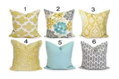 ❘❘❙❙❚❚ ON SALE ❚❚❙❙❘❘     ***Get an INSTANT MAKEOVER for your home just by changing the pillows!!! My pillow covers are SLIPCOVERS for your pillows! They can be slipped on a pillow you already have or over a pillow form purchased from any craft store or even online*** SIZE: Made to ensure a snug, professional fit for your pillow forms COLORS: Floral: Teal, green, tan, grey, yellow, gold and brown on an ivory background. QUANTITY: ONE. Note that you may order more at checkout. FABRIC…