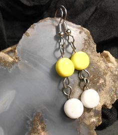 Fun Yellow and White Dangle Earrings Flat by TheYellowHouse39