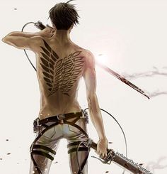 Shirtless Levi back tattoo wings of freedom