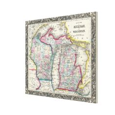Vintage Map of Michigan and Wisconsin (1860) Canvas Print