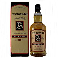 Springbank 100 Proof Malt Whisky Old Style discontinued 10 year old distillery bottling from Mid 2000's. available specialist whiskyshop whiskys.co.uk