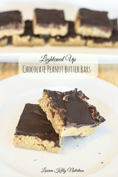 These Lightened Up Chocolate Peanut Butter Bars taste JUST like a Reese's!