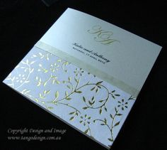 foil vines paper feature in this vineyard style wedding card created by www.tangodesign.com.au
