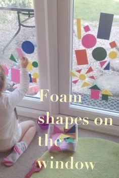 Foam shapes on the window. Great activity to introduce colour, shapes and pattern. We drew and cut out shapes in different sizes and colours. Add some water, a paint brush and a window and you're ready to go. This activity is great in the bath too, just stick the foam shapes to the tiles.    Adventures with Isla-Brae Foam Shapes, Cut Out Shapes, Home Activities, Toddler Play, Paint Brushes, Pre School, Tiles, Window, Kids Rugs