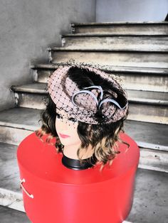 Fascinator Antique Pink & Black Saucer with Veiling and Feathers  Ascot…