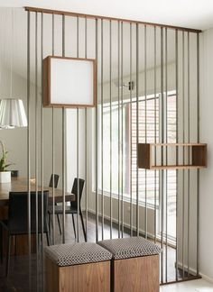 Decoration, Furniture Interior Furniture Appealing Design Ideas Of Room Divider Metal Bars Divider Combine Mounted Storage Shelves Pendant Lamps White Wall Paint Color Glass Windows Room Dividers Whee: Most Decorative and Functional Room Dividers and Partition Walls Balancing Interior Design