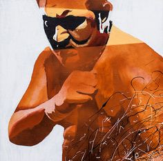 "Samoa Joe l Acrylic and spray paint on 24"" x 24"" wood"