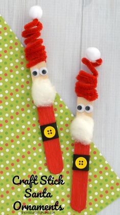 The whimsy pipe cleaner hat on this Craft Stick Santa Ornament is so fun! Kids w… The whimsy pipe cleaner hat on this Craft Stick Santa Ornament is so fun! Kids will love to make this Santa ornament and hang it on the Christmas tree Kids Crafts, Craft Stick Crafts, Preschool Crafts, Diy And Crafts, Craft Projects, Tree Crafts, Craft Ideas, Craft Sticks, Décor Ideas