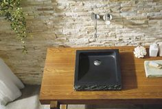 Virtu USA Neril Bathroom Vessel Sink Shanxi Black Granite VST-2019-BAS – BathVault