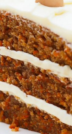 I love carrot cake! - KB Incredible Carrot Cake with Cream Cheese Frosting ~ Simply classic, good old fashioned Carrot Cake. With luscious swoops of super creamy, perfectly sweet, (and stable) Cream Cheese Frosting, this cake is pretty much perfection Just Desserts, Delicious Desserts, Dessert Recipes, Yummy Food, Dinner Recipes, Healthy Desserts, Tasty, Picnic Recipes, Dinner Healthy