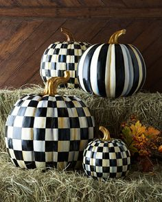 Love, Love, Love!!! Courtly Check & Courtly Stripe Pumpkins by MacKenzie-Childs at Horchow.