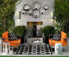 Accessories : Small Patio Decorating With Carpet Flooring Small Patio Decorating Ideas Photos Backyard Patio' Patio Design' Outdoor Living Ideas along with Accessoriess Patio Wall Decor, Outdoor Wall Art, Outdoor Rooms, Outdoor Walls, Outdoor Living, Outdoor Seating, Wall Decorations, Indoor Outdoor, Christmas Decorations