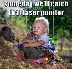 Cat and baby have a comforting heart-to-heart, LOL!