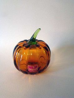 vintage glass pumpkin paperweight, viking glass pumpkin, glass paperweight, vintage paperweight