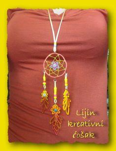 handmade dreamcatcher necklace, technique quilling