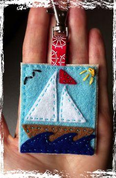 Sail boat felt keyring via Etsy