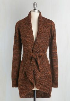 Adventure and Splendor Cardigan. When you pack for a weekend camping trip, youre sure to grab this cozy cardigan by Myrtlewood - a ModCloth exclusive! #orange #modcloth