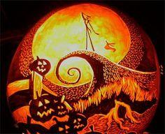 Halloween pumpkin carving - amazing Nightmare Before Christmas jack o' lantern Diy Halloween, Holidays Halloween, Happy Halloween, Halloween Decorations, Halloween Countdown, Halloween Stuff, Awesome Pumpkin Carvings, Pumkin Carving, Pumpkin Carving Patterns