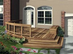 front deck ideas deck plans find the right house deck plans Front Porch Deck Ideas Deck Building Plans, Deck Plans, Building Steps, Door Decks, Decks And Porches, Front Porch Deck, House Front, Front Entry, Balcony Design
