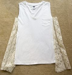 How to get turn a plain white tee into a super cute tank top!photos: mackenzie for we heart this Spring is here and we all know that means pulling out thos Shirt Refashion, T Shirt Diy, Diy Clothing, Sewing Clothes, Diy Tops, Cute Tank Tops, Lace Inset, Diy Fashion, How To Wear