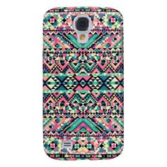 Pink Turquoise Girly Aztec Andes Tribal Pattern Samsung Galaxy S4 Covers