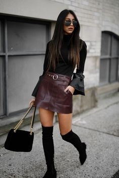 Over The Knee Boots Outfit With Leather Mini Skirt And Flare Sleeve Blouse - Nathan Davenport Fashion European Street Style, Fashion Blogger Style, Fashion Mode, Womens Fashion, Fashion Tips, Trajes Business Casual, Business Casual Outfits, Casual Attire, Street Style Trends