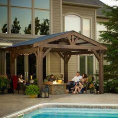The Outdoor GreatRoom Company Lodge II Douglas Fir 14.5 Ft. W x 15 Ft. D Pergola