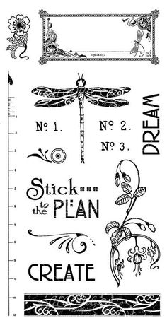 Graphic 45 - Artisan Style - Cling Stamp Set 2