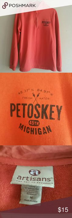 "Men's Artisans Petoskey Michigan Sweatshirt Medium No visible stains/holes. Not a bright orange like showing, more of a burnt orange. 1/4 zipper.  underarm to underarm is 21"" total length is 27"" Artisans Shirts Sweatshirts & Hoodies"