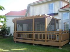After Screened in Pergola with Shade Sc., After Screened in Pergola with Shade Screen Cover Pergola Attached To House, Pergola With Roof, Wooden Pergola, Pergola Shade, Pergola Patio, Backyard Patio, Deck Gazebo, Corner Pergola, Pergola Designs