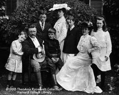 This 1903 photo shows the President, his wife Edith and their six children at the family home of Sagamore Hill in Oyster Bay on Long Island, New York. TR loved his family and spent hours roaming the hills and rowing the shores with the children.