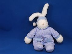 New product 'MUD PIE Small White Sherpa Rabbit White Blue Polka Dot Outfit' added to Dirty Butter Plush Animal Shoppe! - $12.00 - MUD PIE Plush 10 inch, not counting Upright Ears White Sherpa Rabbit - White Polka Dot Blue Cotton Outfit - Blue Knit Co…