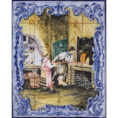 Portuguese Traditional Clay Azulejo Tiles Panel Mural TRADITIONAL COLORED BAKERY #BicesseTiles #Baroque #BicesseTiles