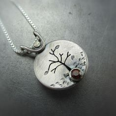 Autumn Silver Tree Photo Locket with Citrine