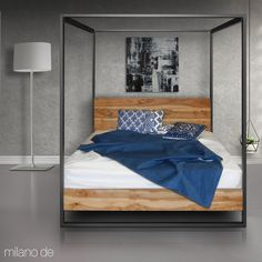 Poster double bed in a blend of metal and wood Double Beds, Metal, Wood, Poster, Furniture, Home Decor, Full Beds, Decoration Home, Woodwind Instrument