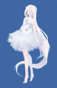 Anime girl white hair white dress