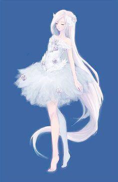 Anime girl white hair white dress