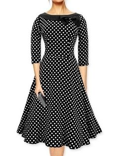 9cf89a2ae7b Vintage Slash Neck Bowknot Polka Dot Skater-dress from fashionmia.com  Collar Dress
