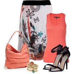 """""""Simple coral and black"""" by jroman on Polyvore"""