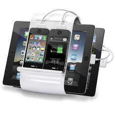 The Four iPhone/iPad Charging Hub. ($149.95) This is the iPhone and iPad hub that charges four devices simultaneously. The unit holds two iPads and two iPhones (or three iPads) and has four USB ports, charging all of the devices while requiring as little tabletop space as an alarm clock.