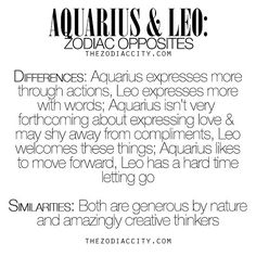 Tag an #Aquarius & #Leo!! Don't forget to check out the site for more fun facts!! WEBSITE: thezodiaccity.com | SHOP: www.zodiaccityshop.com | FACEBOOK: Zodiac City