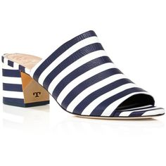 Tory Burch Salinas Striped Slide Block Heel Sandals - 100%... (€325) ❤ liked on Polyvore featuring shoes, sandals, block shoes, colorblock shoes, stretchy shoes, block heel sandals and heeled sandals