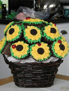 Cupcake Bouquet of Sunflowers | Cup Cake Plans