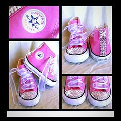 Pink Blinged Out Chuck Taylor Converse Sneakers by Munchkenz from Munchkenz on Etsy. Saved to baby/kiddie stuff. Bling Converse, Baby Converse, Bling Shoes, Converse Sneakers, Bedazzled Shoes, Baby Sneakers, Baby Girl Shoes, My Baby Girl, Girls Shoes