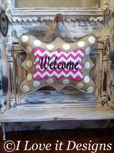 Welcome Burlap Door Hanger by ILoveItDesigns on Etsy, $40.00