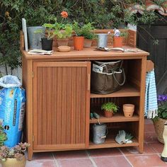 How to Choose a Potting Bench - Hayneedle Garden Storage Bench, Pallet Garden Benches, Bench With Storage, Wood Storage, Outdoor Storage, Storage Spaces, Storage Ideas, Furniture Care, Outdoor Furniture