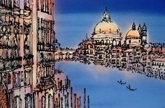 """VENICE"" Original painting on canvas, created with textured acrylic and spray paints. #gondolas #grandcanal #gondoliers #italy #santamariadellasalute #palazzocavalli-franchetti http://www.hannahvanbergen.co.uk/cityscapes/482952_venice.html"