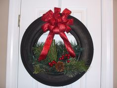 christmas tire wreath christmas pinterest tired. Black Bedroom Furniture Sets. Home Design Ideas