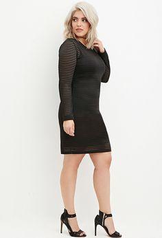 Plus Size Shadow Stripe Bodycon Dress